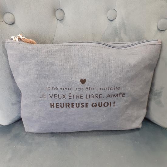 """Trousse """"HEUREUSE QUOI"""" Sophie Janière bleue"""